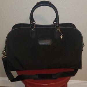 Coach Black Leather Duffle Luggage Weekend Bag